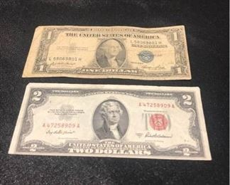 US One Dollar Silver Certificate 1935 and Two Dollar Red Seal 1953 with Error Shifts