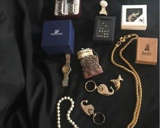Variety of Necklaces, Pins, Swarovski, and Keychains