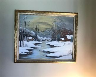 Lovely signed painting of a snow scene  by Margaret Jones ( Grandmother of Ted Jones Clarksville)