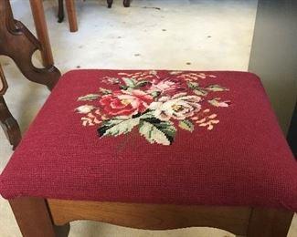 Handmade needlepoint stool