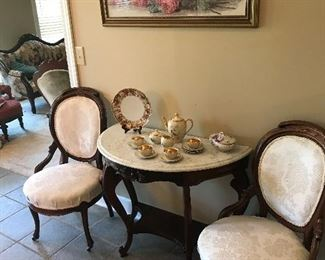 Marble top demi-line console table, 2 Victorian parlor chairs, Bavarian demitasse tea set, framed 'Red Roses' famous print by Paul de Longfere