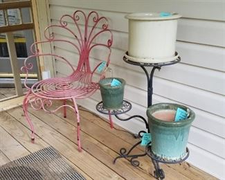 Planter stands, outdoor chairs, pots, outdoor figurines and more!