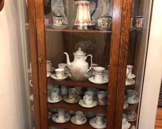 Collection of antique hot chocolate pots & cups