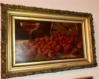 Strawberry still life oil painting