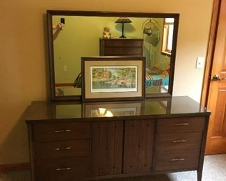 1960s Bedroom Set (Highboy & Lowboy Dressers) with Mirror and Bed