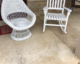 White Patio Wicker and Wood Chairs