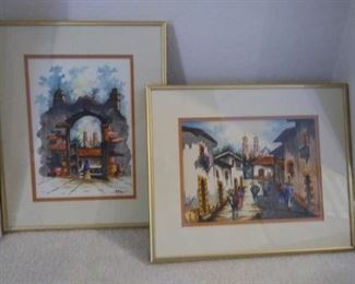 Two gold framed pictures with Spanish Style Scenery https://ctbids.com/#!/description/share/216846