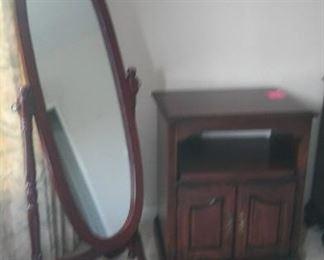 Oval Wooden Floor Mirror and Cabinet https://ctbids.com/#!/description/share/212875