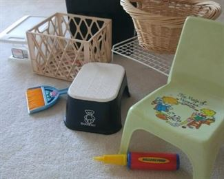 Child's chair, step stool and storage bins https://ctbids.com/#!/description/share/212895