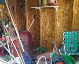 Garden materials wheel barrel etc.