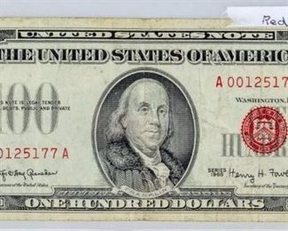 Lot 12 - Coin 1966 $100 United States Note Red Seal