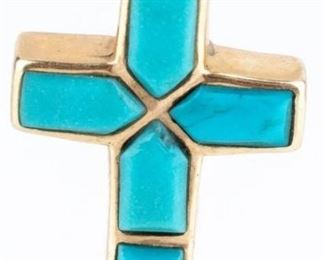 Lot 25 - Jewelry 14kt Gold & Turquoise Cross Pendant
