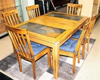 Lot 62a- Slate Topped Dining Table and 6 Side Chairs