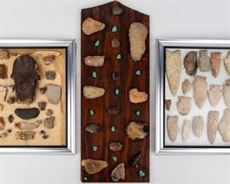 Lot 118 - Lot of Native American Arrowheads, Speartips & Axe