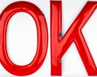 "Lot 64 - Large ""OK"" Red Porcelain Letters on Metal"