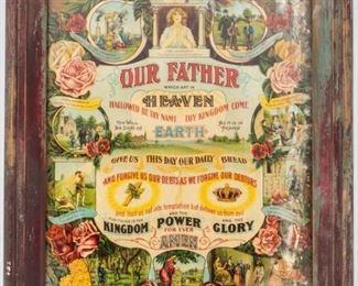 Lot 263 - Art - Vintage Lord's Prayer &10 Commandments Print