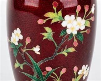 Lot 187 - Vintage Japanese Guilloche Cloisonne Vase