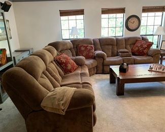 MICROFIBER SECTIONAL 3 PC    Very Clean and comfortable                                                                                              3 seat with 2 Recliners,  Corner pc seats two ,  2 seat  with 2 recliners and center console
