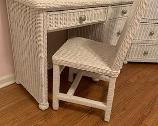 WICKER 4 DRAWER DESK AND CHAIR
