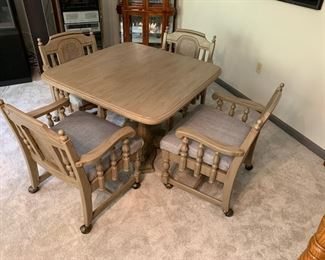 """FRESHLY UPHOLSTERED ARM CHAIRS ON WHEELS AND 42"""" GAME TABLE"""