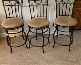 """THREE VERY COMFORTABLE BISTRO HEIGHT BAR STOOLS  25"""" to seat     Seat can be easily recovered"""