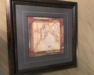 OLD WORLD MAP BEAUTIFULLY MATTED AND FRAMED