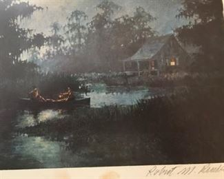"""Bad Picture of a very Dark Moonlit Night Scene by Robert Rucker. Signed and numbered very """"South Louisiana"""" I've not seen this print in a sale before."""