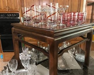 Ethan Allen Side Table shows off some great  party glasses and Stemware