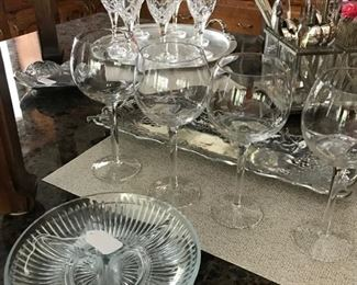 Stemware and Relish Dishes (Hammered Tray not for sale)
