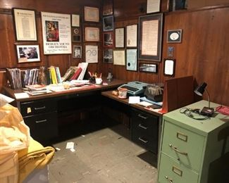 Desk, File Cabinet