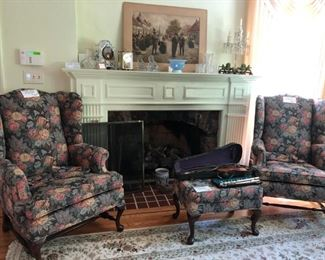 Wing Chairs, Art, Clocks