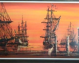 "Vanguard Studios, ""Galleons at Sea"" MCM painting"