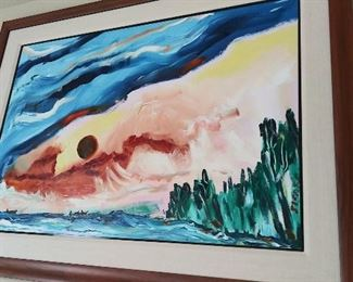 "Net Fishing: Lake Huron by Ed Sugar, Ojibwa Original painting, acrylic on board 39"" w x 27"" h"