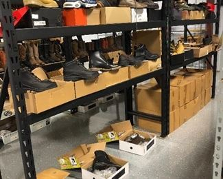 New or never worn Ariat, Ben Sherman, Georgia boot Co . All shelving is being sold