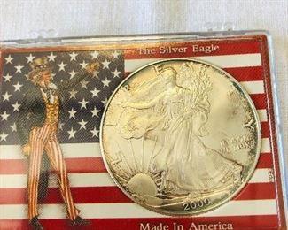 2000 $1 American Silver Eagle 1oz silver.