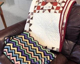 handmade quilt, wool afghan