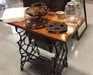 repurposed sewing machine table