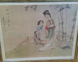 tbs goldframed Chinese print Young Woman in Bamboo Garden
