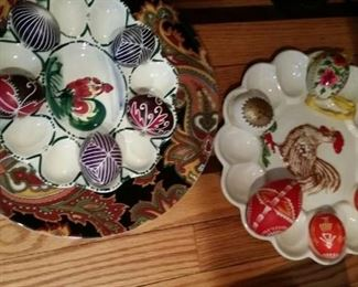 tbs vintage rooster egg plates and Viennese hand painted eggs