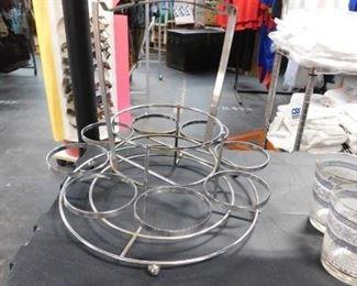 Mid Century Modern 8 glass spinning chrome caddy