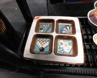 Sports themed 4 compartment ceramic tray (small chip on back rim)