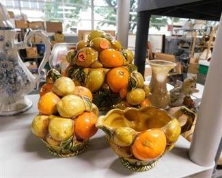 Enesco Inarco MCM mid century modern fruit cookie jar with lid, salt , pepper, creamer & sugar with lid