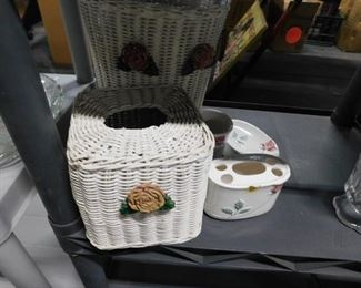 Wicker with rose waste basket, tissue holder & 3 pc ceramic cup, toothbrush holder 7 soap dish bathroom set