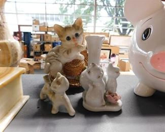 3 Assorted ceramic cat collectibles