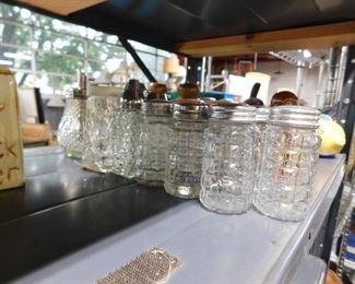Assorted cut glass salt & pepper shakers