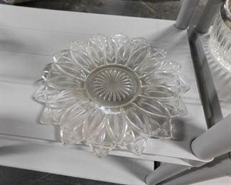 Cut glass plate floral design