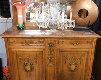 Antique Quartersewn Tiger Oak Sideboard marble top with mirror