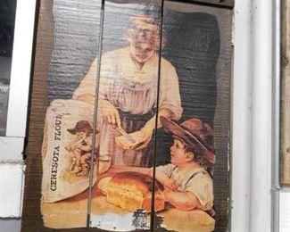 Vintage Ceresota flour slat board art