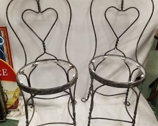 2 Faux finished bistro chairs ( no seats) Great for plants