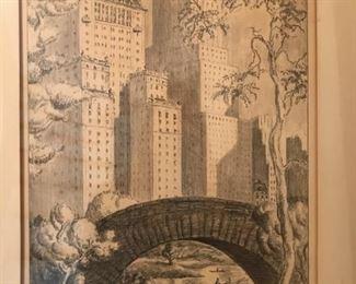 Central Park Pencil on Paper signed Frank W. (Piero?)